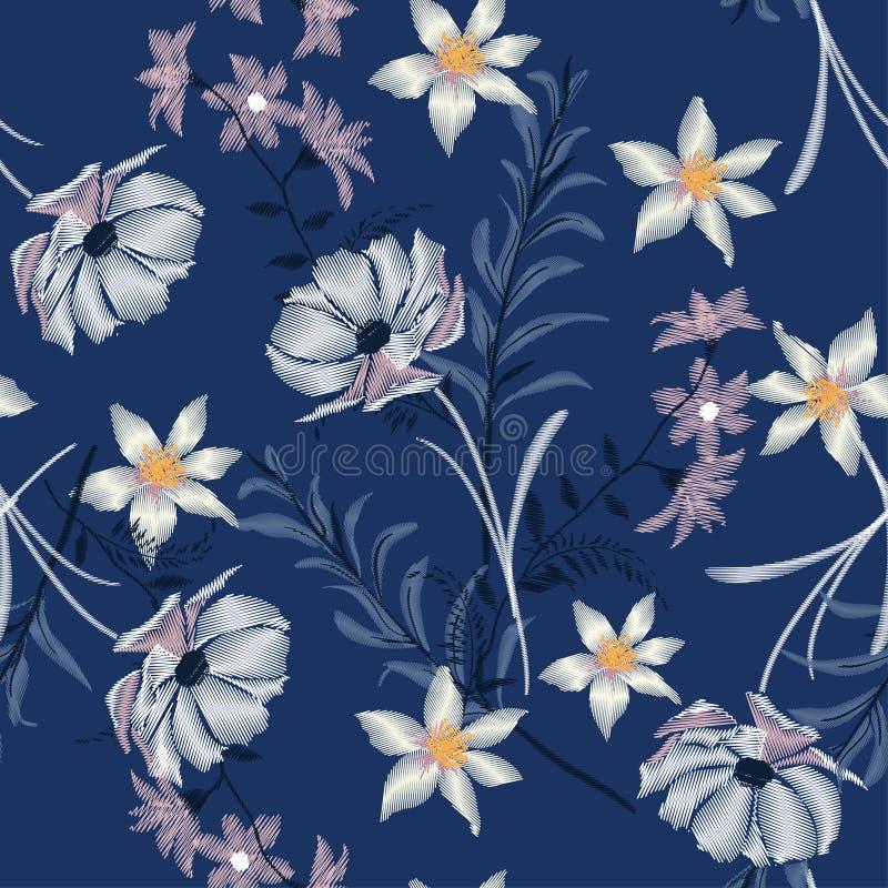 刺绣野花 缝的艺术 标志, Bloomimg desi 向量例证