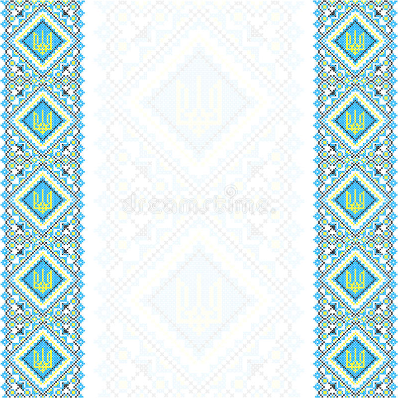 刺绣 乌克兰全国装饰品三叉戟 向量例证