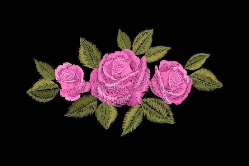 刺绣桃红色玫瑰 时尚补丁装饰贴纸 花被绣的装饰品安排 传统种族织品纺织品 图库摄影