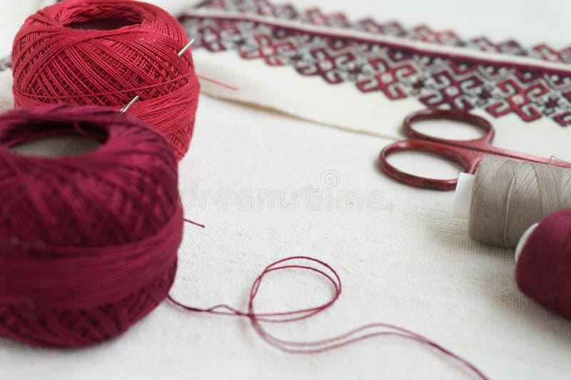 刺绣片段 毛线,织品 免版税库存照片