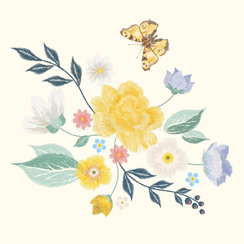 刺绣简化了与蝴蝶和花的花卉样式 库存例证