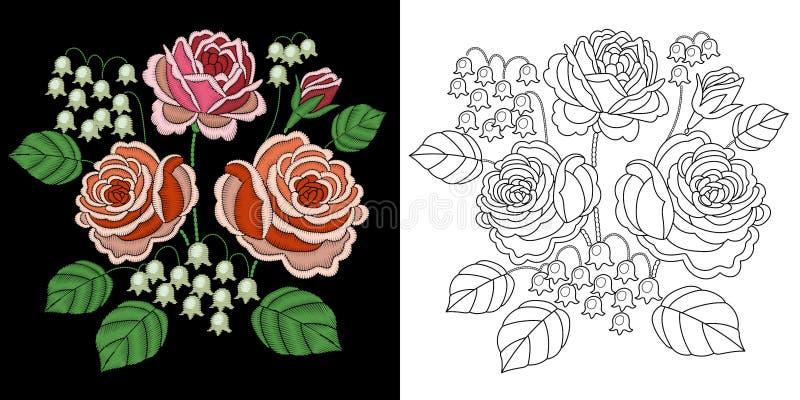 刺绣花卉设计 库存例证