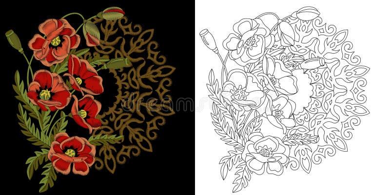 刺绣花卉设计 向量例证