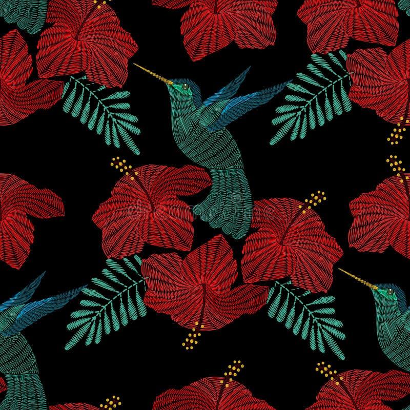 刺绣蜂鸟,与木槿的异乎寻常的热带鸟开花 皇族释放例证