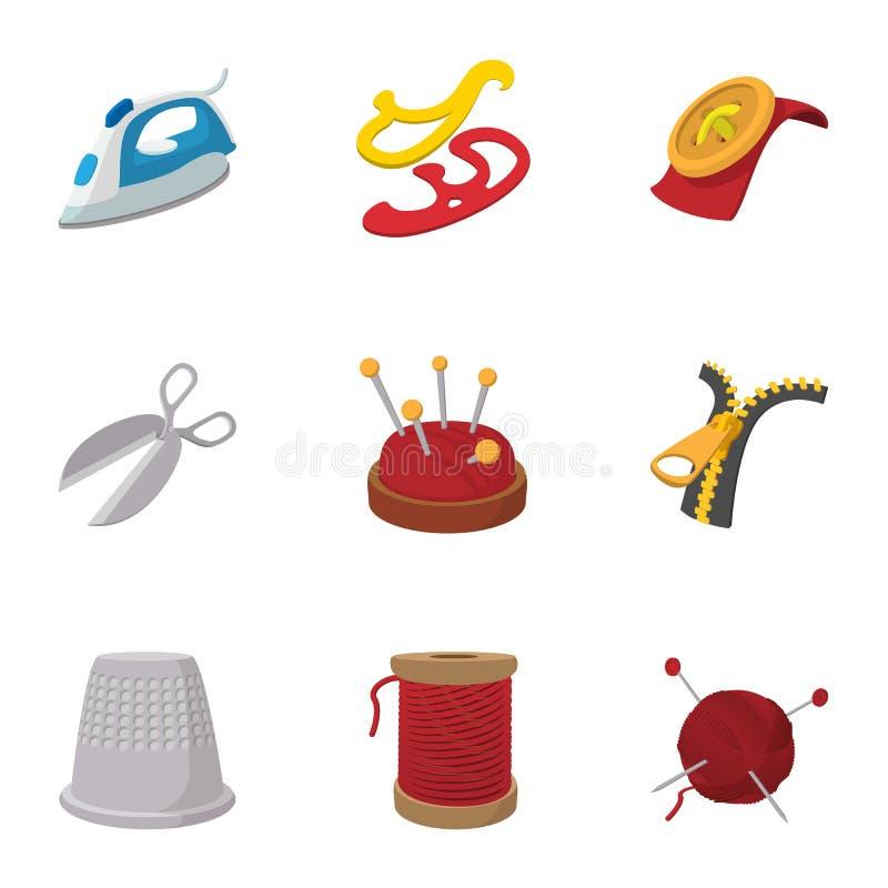 刺绣被设置的成套工具象,动画片样式 库存例证