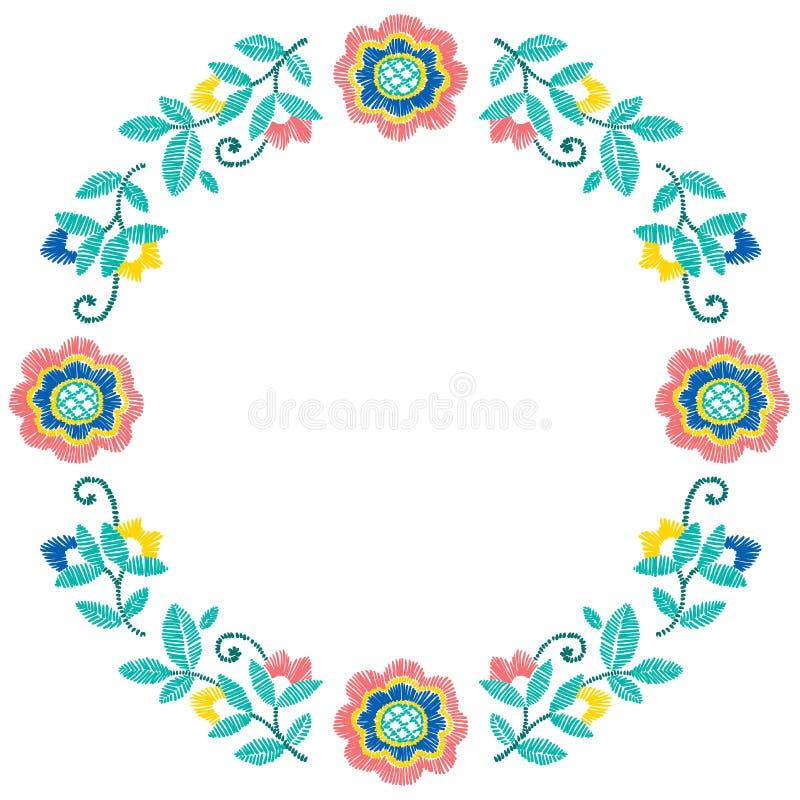 刺绣装饰花卉框架传染媒介样式,纺织品装饰的装饰品 漂泊ethno手工制造样式背景 皇族释放例证