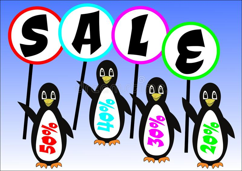 刻有在横幅销售的企鹅小组题字,冬天折扣50%,在冰的逗人喜爱的鸟的广告 免版税库存图片