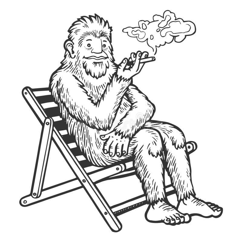 刻记传染媒介的雪人雪人抽烟的剪影 向量例证