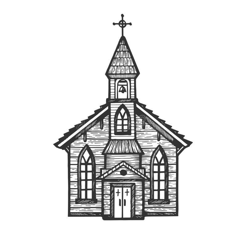 刻记样式传染媒介的老木教会 库存例证