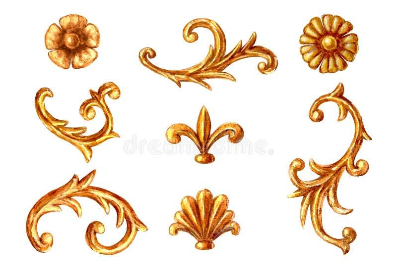 巴洛克式的样式元素 刻记花卉纸卷金银细丝工的框架设计集合的水彩手拉的葡萄酒 库存例证