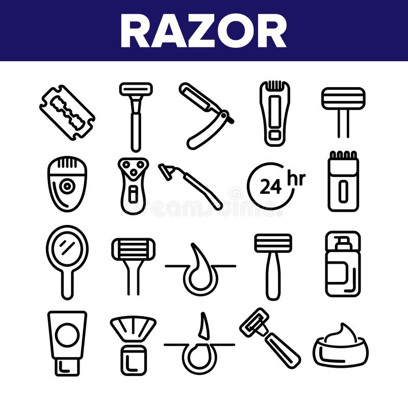 剃刀,刮辅助部件导航线性象集合 皇族释放例证
