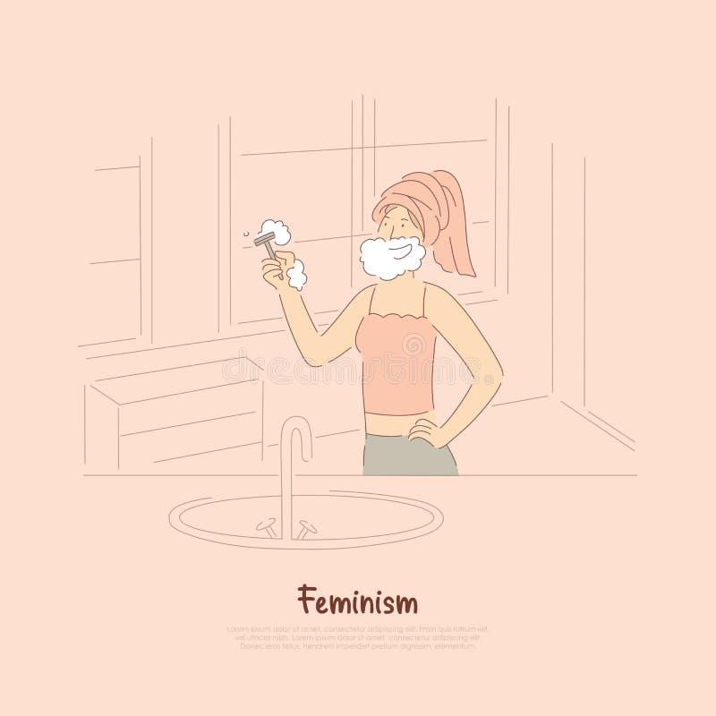 剃坚强的年轻女人,有肥皂胡子藏品剃刀的,个人卫生,身体关心,女权主义横幅微笑的夫人 向量例证