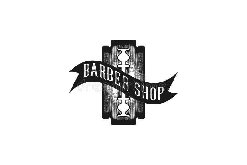 剃须刀,理发师商标启发隔绝在白色背景 向量例证