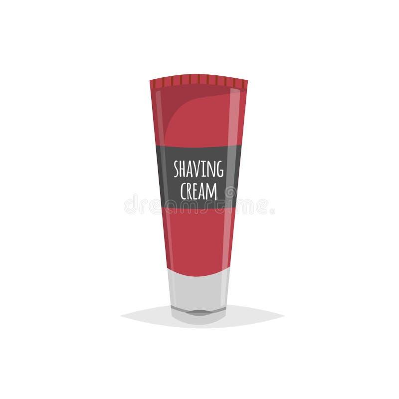 剃须膏深红管 与简单的梯度的动画片平的样式 男性面孔卫生学设备 Mooisture胶凝体 传染媒介illustra 向量例证