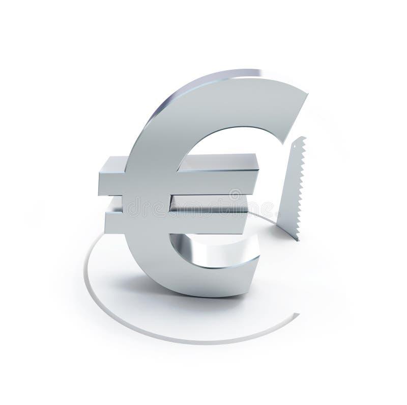 削减一个圈子用手看了标志欧元 皇族释放例证