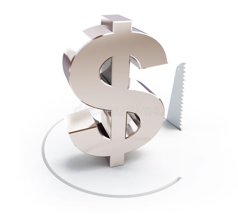 削减一个圈子用手看了标志美元 皇族释放例证
