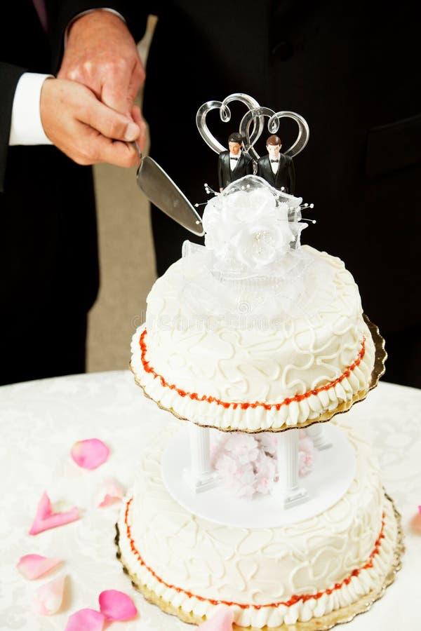 削减同性恋婚姻婚礼的蛋糕 免版税库存照片