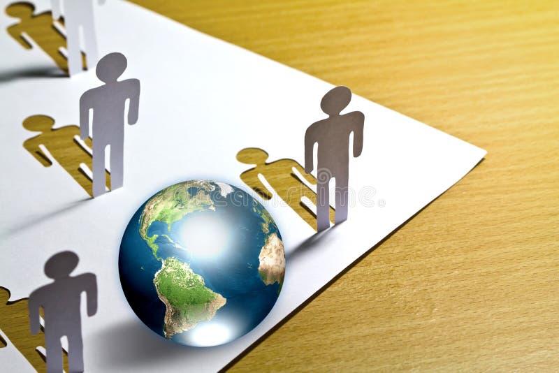 削减地球纸人身分 免版税库存图片