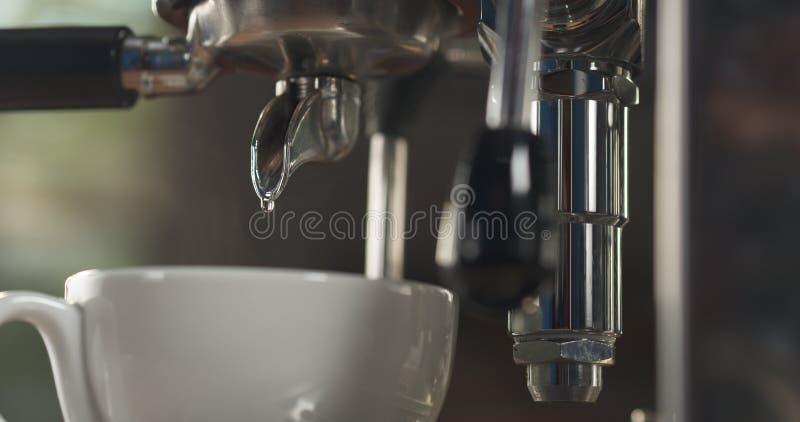 前个下落水漂洗专业咖啡机器到热奶咖啡杯子里 免版税库存图片