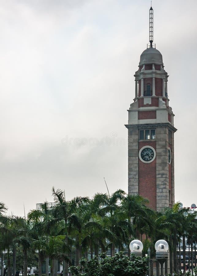 前九广铁路尖沙嘴钟楼,香港,中国 免版税库存照片