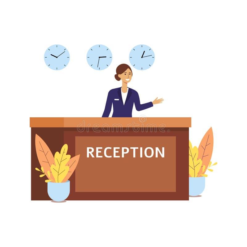 前台大厅室的旅馆接待员,制服的愉快的动画片妇女在与三个时钟的招待会柜台 向量例证