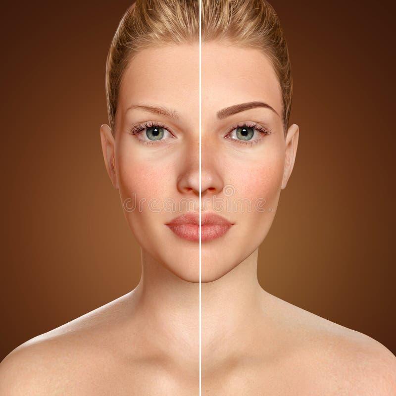 前后眼眉microblading的比较3d面孔 向量例证