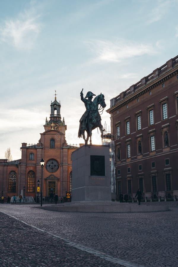 前国王卡尔雕象XIV约翰奥斯陆王宫外在斯德哥尔摩瑞典 库存图片