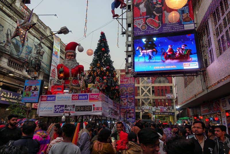 前圣诞节庆祝在加尔各答,印度 免版税库存照片