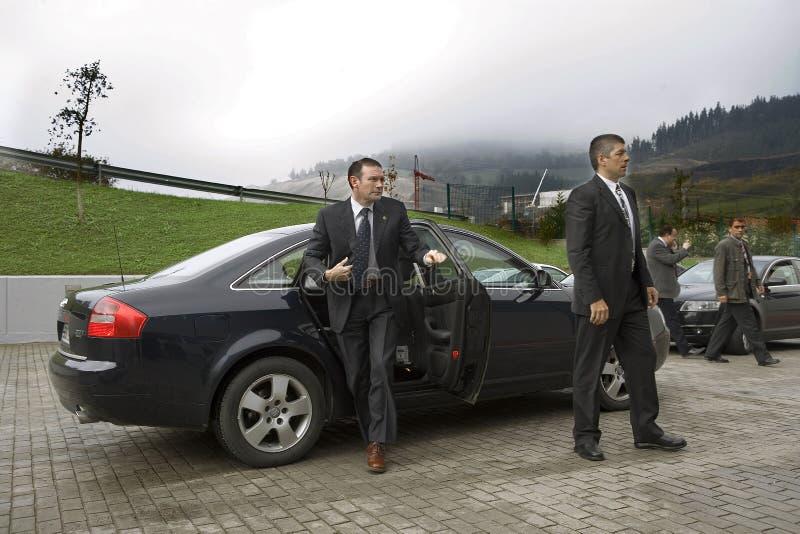 前巴斯克总统胡安José Ibarretxe的中景 免版税库存照片