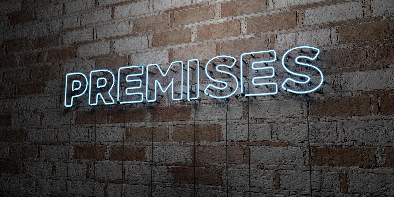 前提-在石制品墙壁上的发光的霓虹灯广告- 3D回报了皇族自由储蓄例证 向量例证