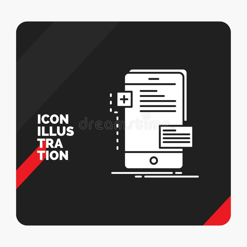 前期的红色和黑创造性的介绍背景,接口,机动性,电话,开发商纵的沟纹象 库存例证