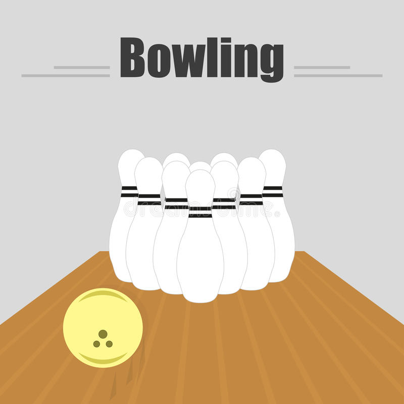 前浆手 与一个滑的球和九柱游戏用的小柱的轨道 库存例证