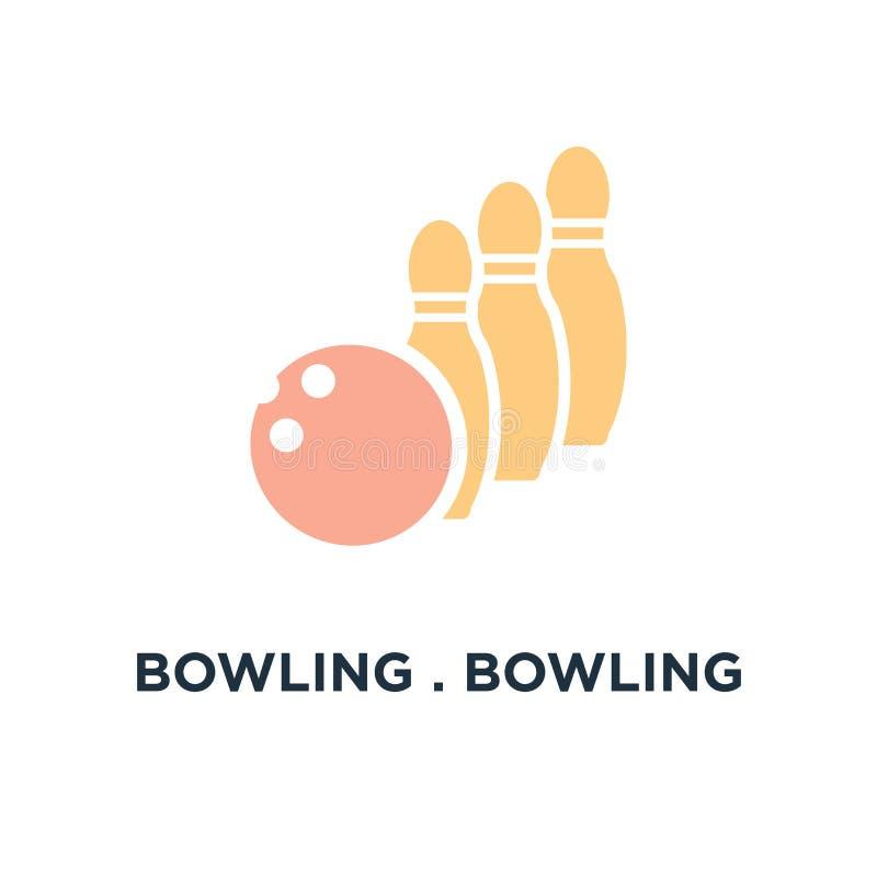 前浆手 艺术球保龄球图标向量 保龄球比赛,体育概念标志 皇族释放例证