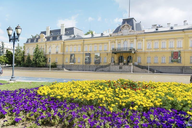前王宫的大厦 今天全国美术画廊在索非亚 库存照片
