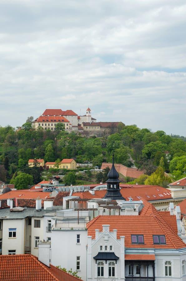 前皇家城堡、堡垒和位于捷克共和国南摩拉维亚布尔诺的监狱的旧城和斯皮尔伯克城堡 库存照片