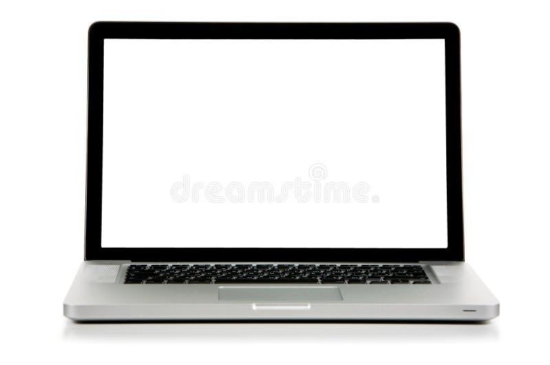 前膝上型计算机新的屏幕视图白色 免版税库存照片