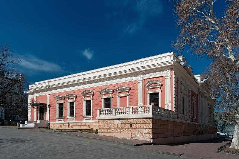 前英国俱乐部历史建筑现在这是海军的博物馆在Odesa,乌克兰 库存照片