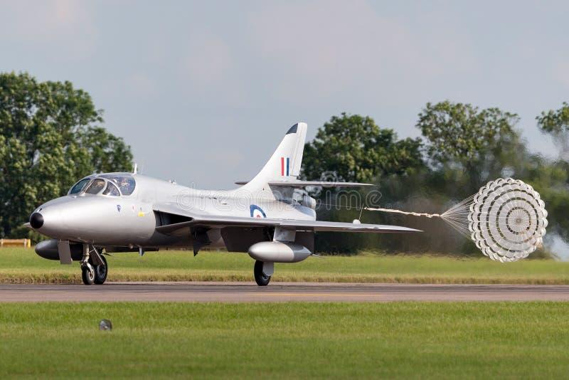前英国皇家空军皇家空军叫卖小贩猎人T 7架XL577 G-XMHD喷气机教练机由空中分谴舰队经营 免版税库存图片
