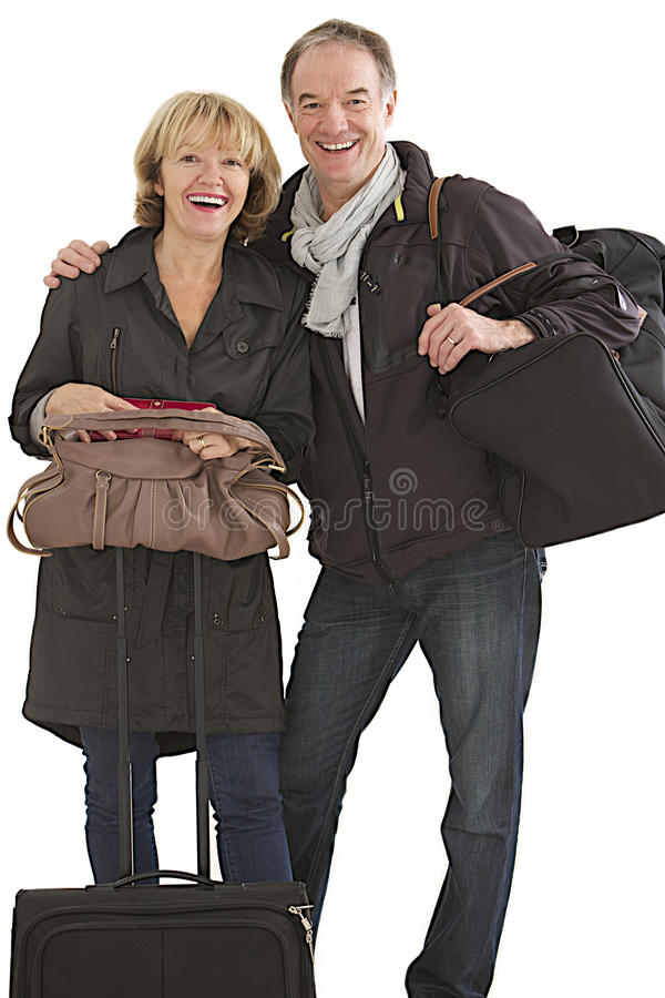 前辈夫妇准备好离开 图库摄影