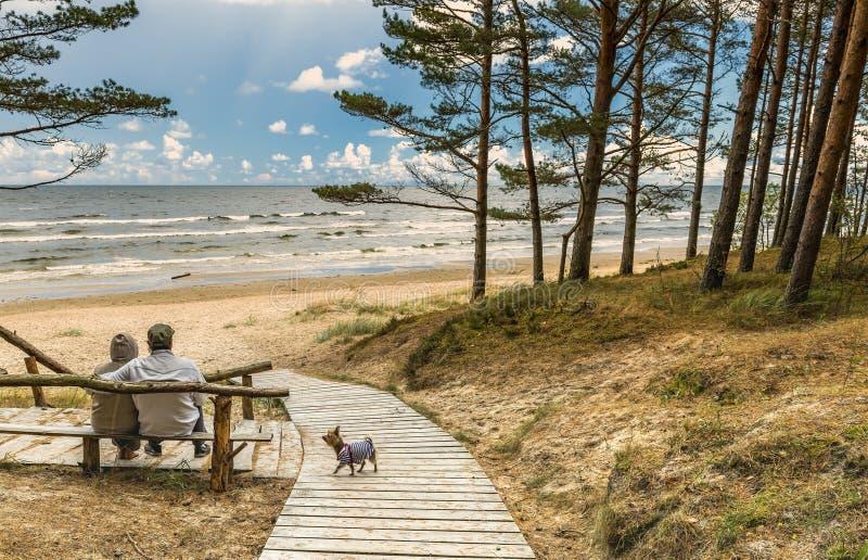 前辈夫妇在海滩波罗的海附近休息 库存照片