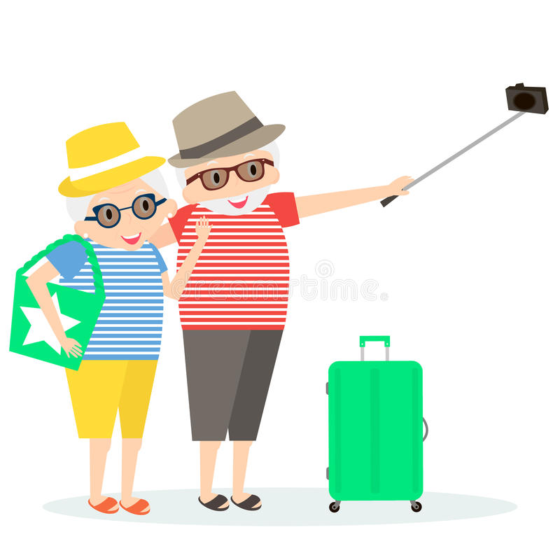 前辈愉快旅行 祖母和祖父旅行的 带着Selfie棍子和手提箱的老人在旅行 库存例证