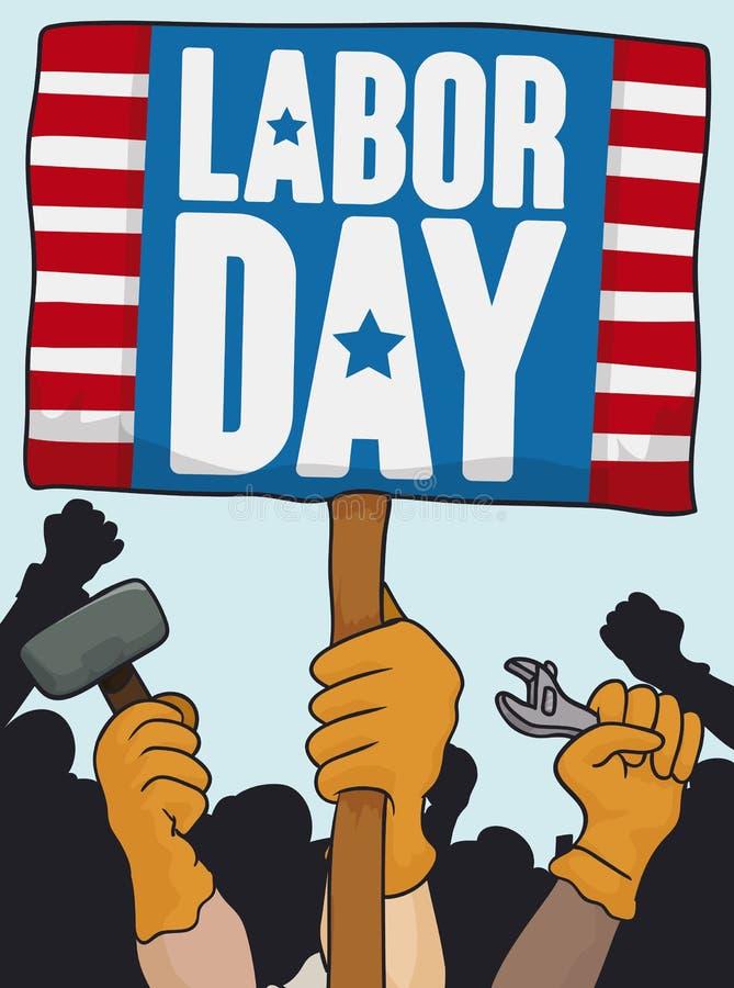 前进在劳动节庆祝,传染媒介例证的工作者的 库存例证