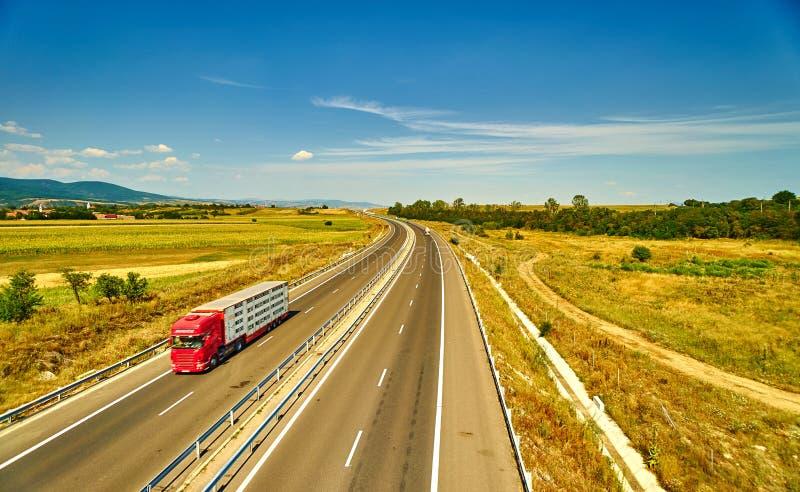 继续前进高速公路的卡车 库存图片