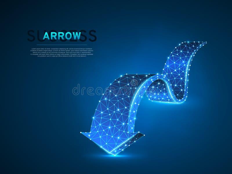前进wireframe数字传染媒介霓虹3d例证的箭头 低多企业有远见者,挑战,目标概念 皇族释放例证