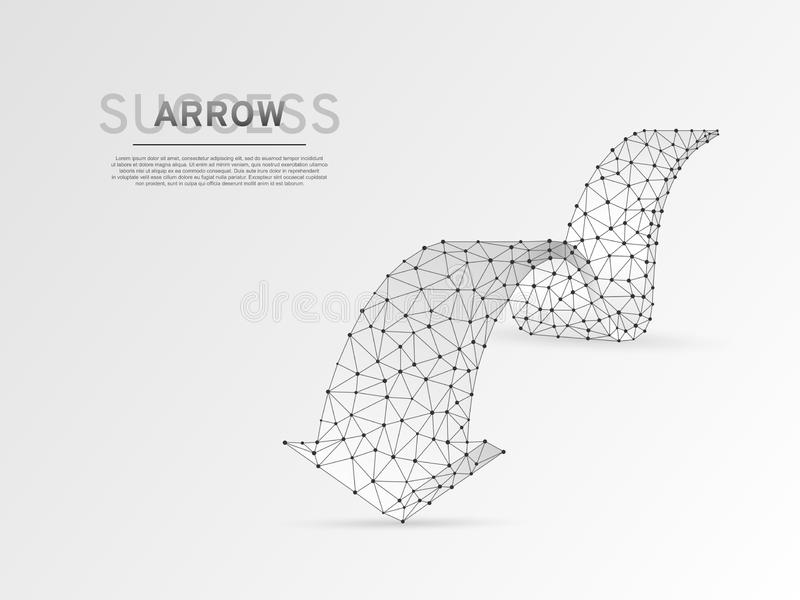 前进wireframe数字传染媒介origami 3d例证的箭头 低多事务,挑战,目标概念 库存例证