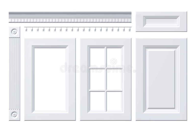 前门,抽屉,专栏,厨柜的檐口在白色 向量例证