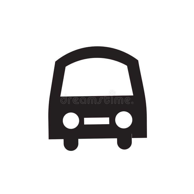 前面公共汽车象在白色背景隔绝的传染媒介标志和标志,前面公共汽车商标概念 皇族释放例证