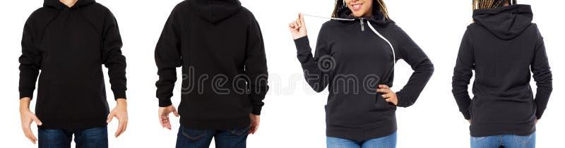 前面后面和后方黑运动衫视图 在模板衣裳的美好的黑女性和男性身体印刷品和拷贝空间的 免版税库存照片