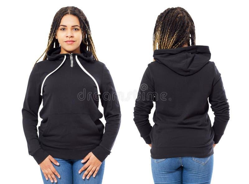 前面后面和后方黑运动衫视图 模板衣裳的美丽的黑人妇女在白色隔绝的印刷品和拷贝空间的 免版税图库摄影