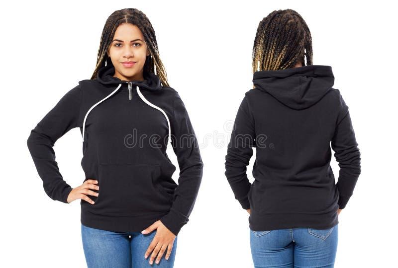 前面后面和后方黑运动衫视图 模板衣裳的美丽的黑人妇女在白色隔绝的印刷品和拷贝空间的 库存图片